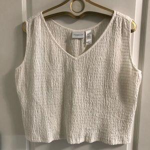 White stretch elastic cotton crop top L/XL